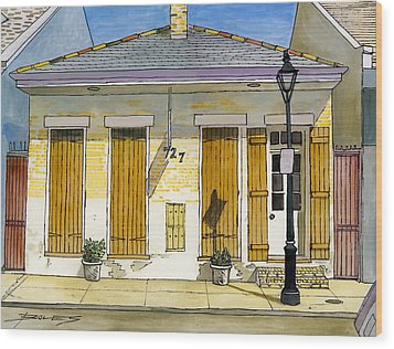 French Quarter Yellow Brick House 367 Wood Print by John Boles
