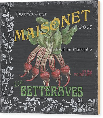 French Veggie Labels 2 Wood Print by Debbie DeWitt