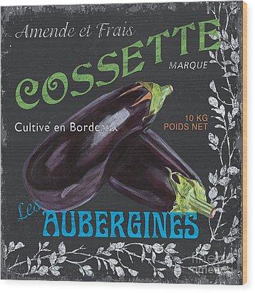 French Veggie Labels 4 Wood Print by Debbie DeWitt