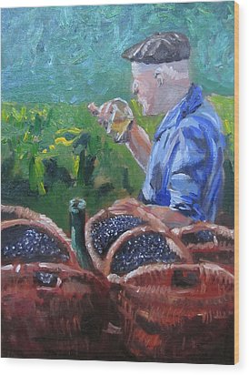 French Vineyard Worker Wood Print by Kendal Greer