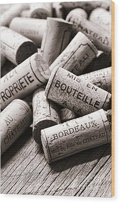French Wine Corks Wood Print by Olivier Le Queinec