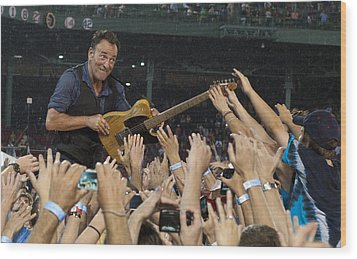 Frenzy At Fenway Wood Print by Jeff Ross