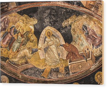 Fresco In Chora Church In Istanbul Wood Print by Marion McCristall