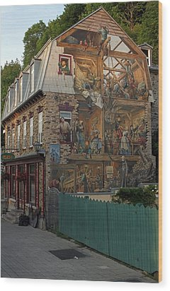 Fresco Wall Art Painting In Quebec City Wood Print by Juergen Roth
