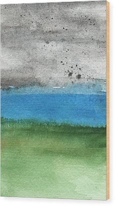 Fresh Air- Landscape Painting Wood Print by Linda Woods