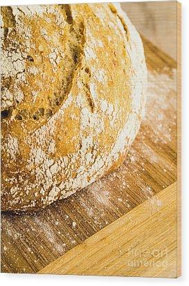 Fresh Baked Loaf Of Artisan Bread Wood Print by Edward Fielding