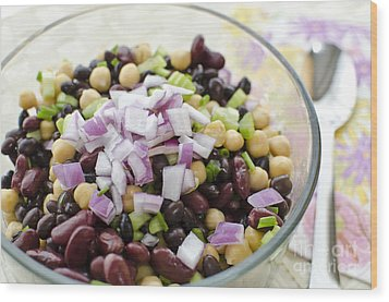 Wood Print featuring the photograph Fresh Bean Salad by Maria Janicki