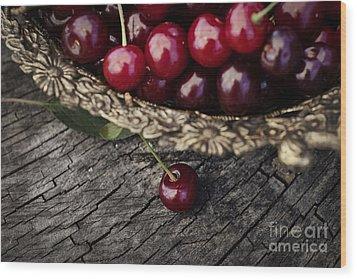 Fresh Cherry Wood Print by Mythja  Photography