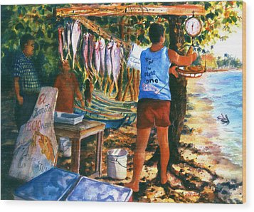 Fresh Fish Wood Print by Estela Robles