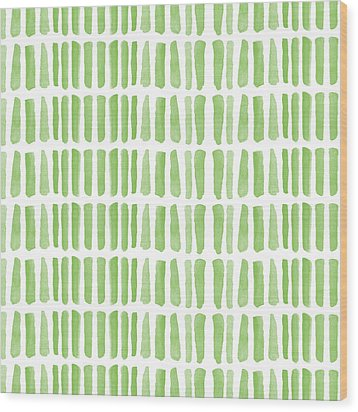 Fresh Grass- Abstract Pattern Painting Wood Print by Linda Woods