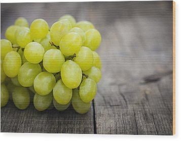 Fresh Green Grapes Wood Print by Aged Pixel