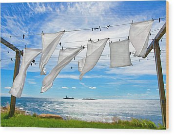 Fresh Laundry Wood Print by Donna Doherty