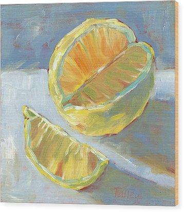 Fresh Lemons Wood Print by Pam Talley