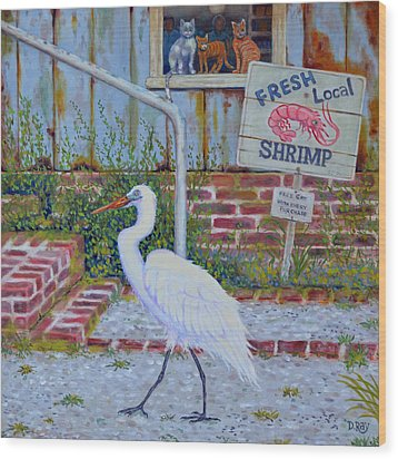Wood Print featuring the painting Fresh Local Shrimp  by Dwain Ray