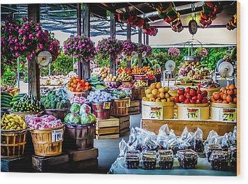 Fresh Market Wood Print by Karen Wiles