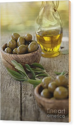 Fresh Olives Wood Print by Mythja  Photography
