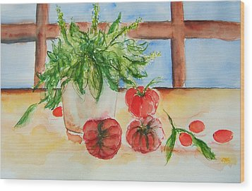 Fresh Picked Tomatoes And Basil Wood Print by Elaine Duras