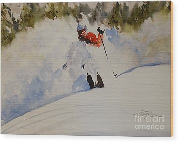 Fresh Powder Wood Print by Sandra Strohschein