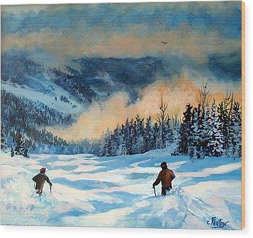 Fresh Powder Wood Print by W  Scott Fenton