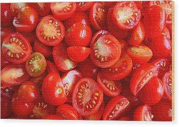 Fresh Red Tomatoes Wood Print