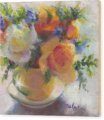 Fresh - Roses In Teacup Wood Print by Talya Johnson