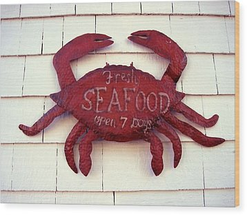 Fresh Seafood Sign Boothbay Harbor Wood Print by Patricia E Sundik