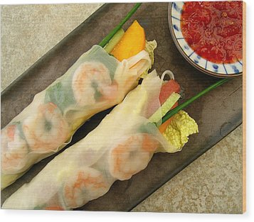 Fresh Spam Spring Rolls Wood Print by James Temple