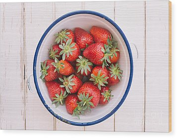 Fresh Strawberries  Wood Print
