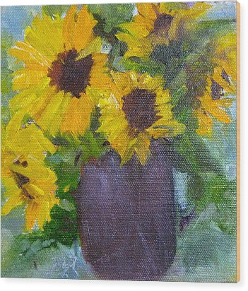 Fresh Sunflowers Wood Print by MaryAnne Ardito