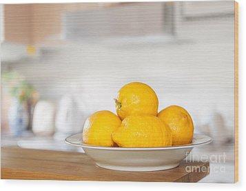 Freshly Picked Lemons Wood Print by Amanda Elwell