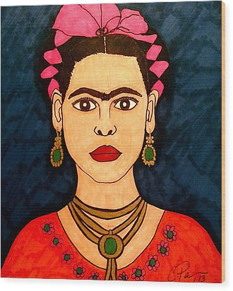 Wood Print featuring the drawing Frida by Chrissy  Pena