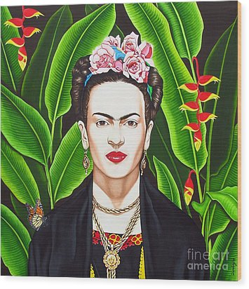 Wood Print featuring the painting Frida by Joseph Sonday