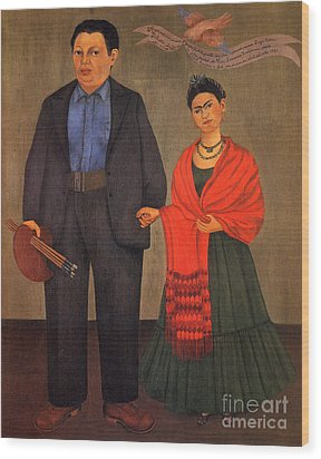 Frida Kahlo And Diego Rivera 1931 Wood Print by Pg Reproductions