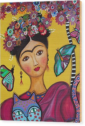 Wood Print featuring the painting Frida Kahlo And Her Cat by Pristine Cartera Turkus