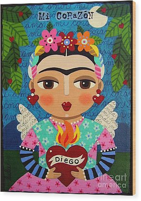 Frida Kahlo Angel And Flaming Heart Wood Print by LuLu Mypinkturtle