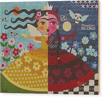 Frida Kahlo Angel Devil Queen Wood Print by LuLu Mypinkturtle