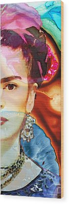 Frida Kahlo Art - Seeing Color Wood Print by Sharon Cummings