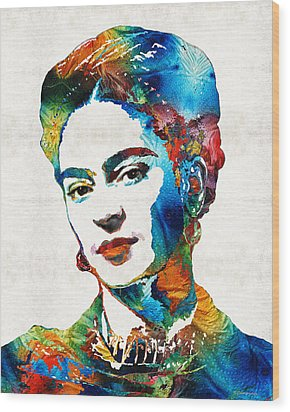 Frida Kahlo Art - Viva La Frida - By Sharon Cummings Wood Print by Sharon Cummings