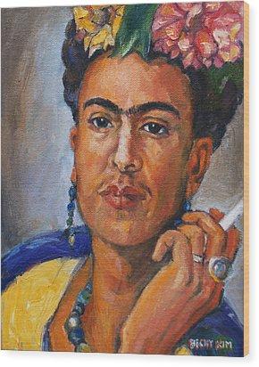 Frida Kahlo Wood Print by Becky Kim