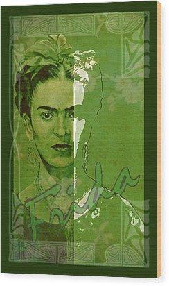 Frida Kahlo - Between Worlds - Green Wood Print by Richard Tito