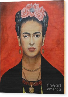 Frida Kahlo Wood Print by Elena Day