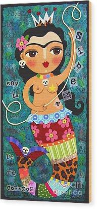 Frida Kahlo Mermaid Queen Wood Print by LuLu Mypinkturtle
