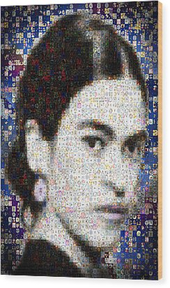 Frida Kahlo Mosaic Wood Print by Paula Ayers