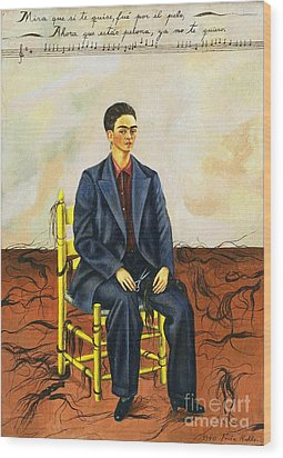 Frida Kahlo Self-portrait With Cropped Hair Autorretrato Con Pelo Cortado Wood Print by Pg Reproductions