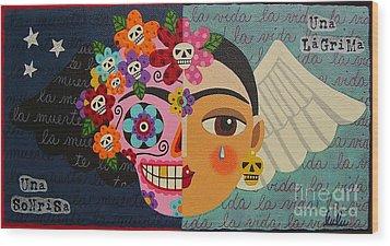 Frida Kahlo Sugar Skull Angel Wood Print by LuLu Mypinkturtle