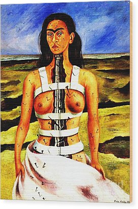 Frida Kahlo The Broken Column Wood Print by Pg Reproductions