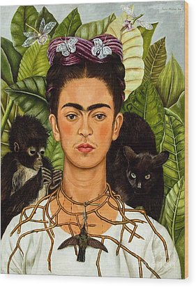 Frida Kahlo - Thorn Necklace And Hummingbird Wood Print