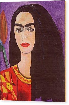 Frida Kahlo Young Wood Print