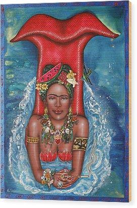 Frida Makes A Splash Wood Print by Ilene Satala