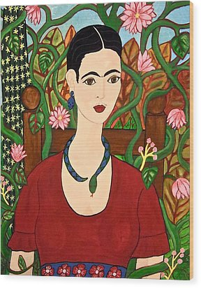 Frida With Vines Wood Print